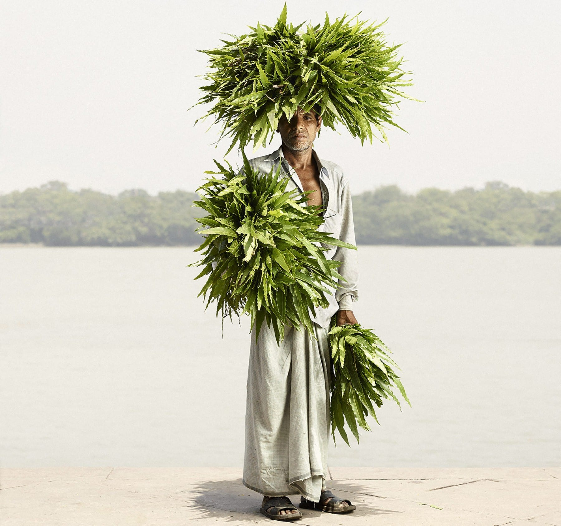 Portrait photography by Ken Hermann, Odhir Gayen with Devdar Leaves, independent photo contest