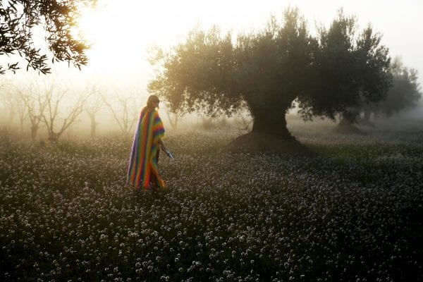 landscape  and woman next to a tree color photography by inge van heerde