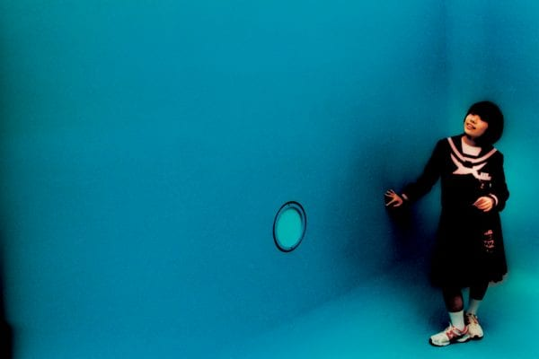 blue photo from the sunlanders series, color darkroom prints handmade by Sean Lotman