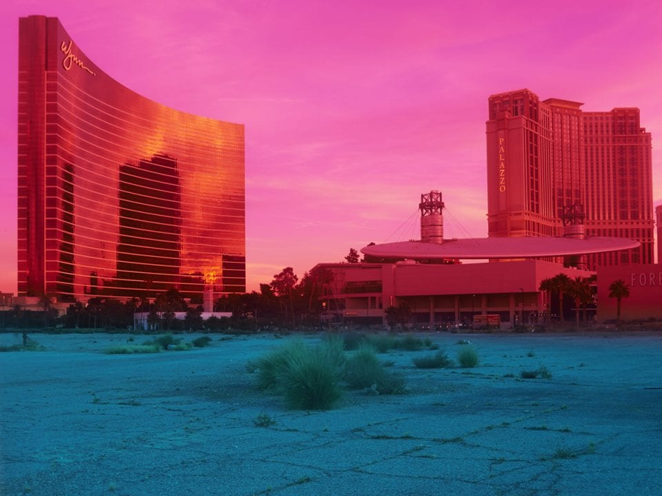 pink image of a casino high contrast colo photograph