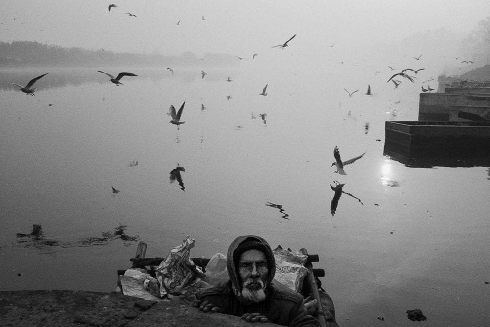 man in front of the sea with birds street photography by swarat ghosh