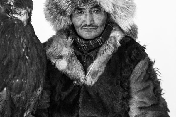black and white portrait landscape photography in Mongolia