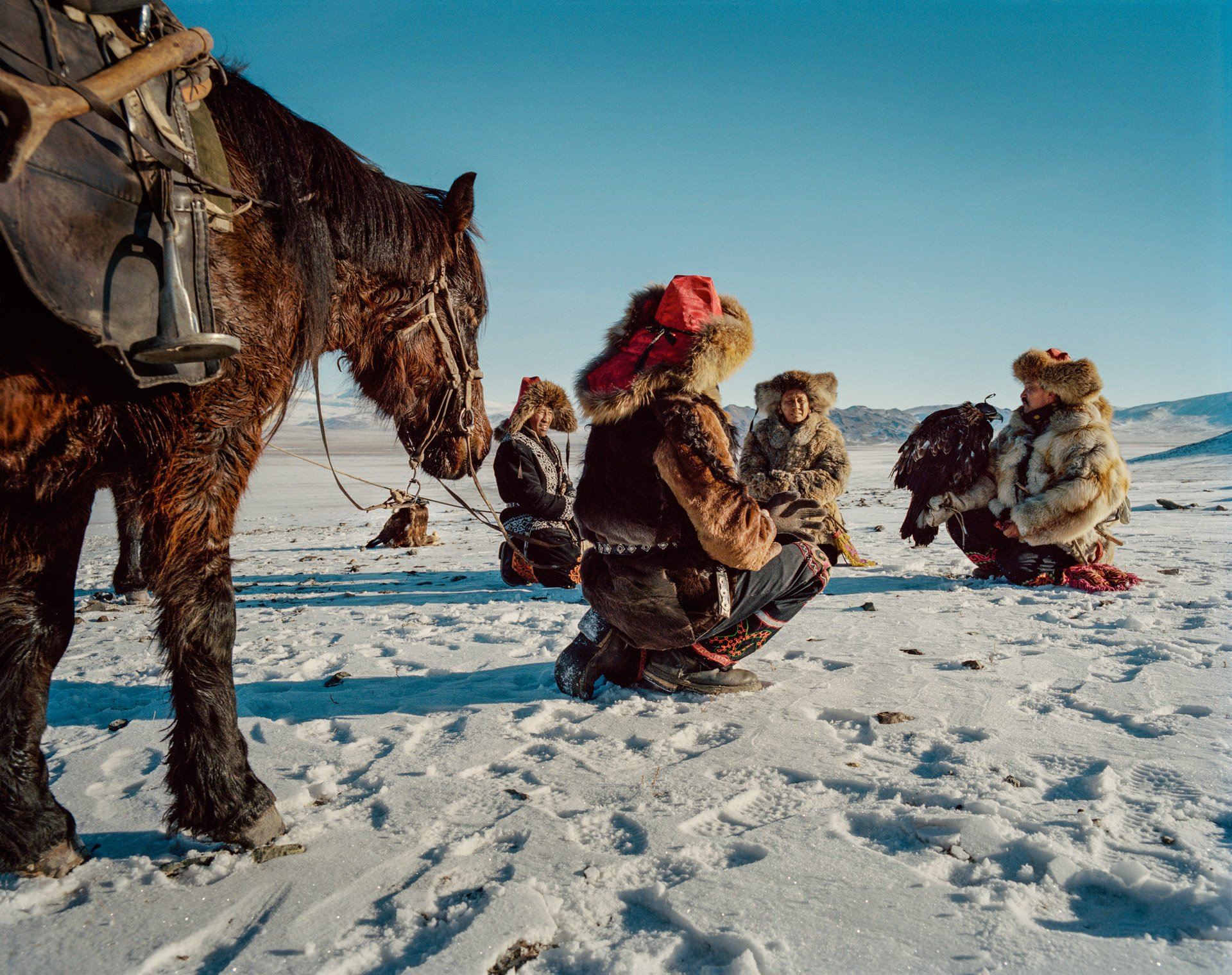 man and horse color and landscape photography in Mongolia