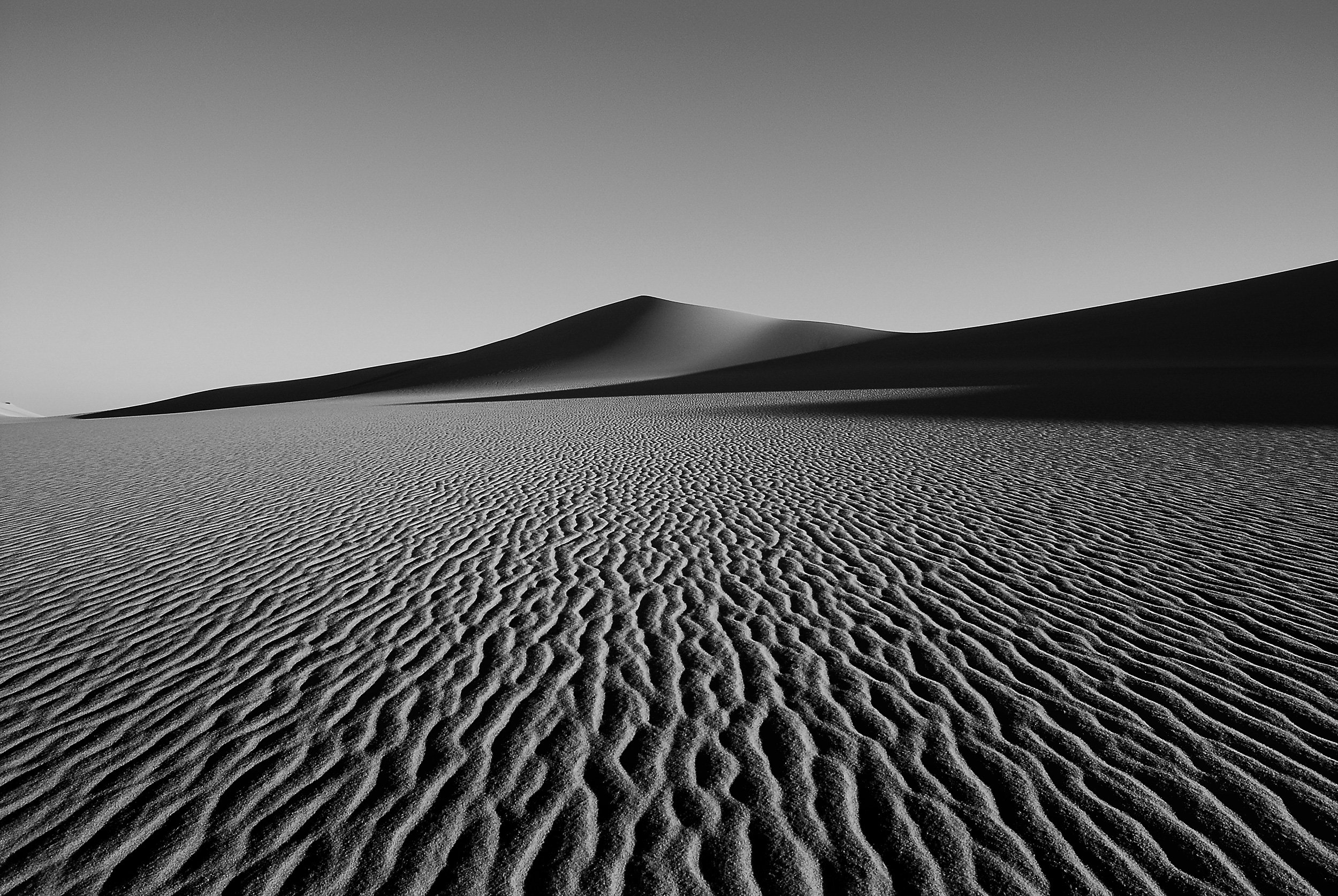 black and white, high contrasted landscape photography of a sand dune in the desert
