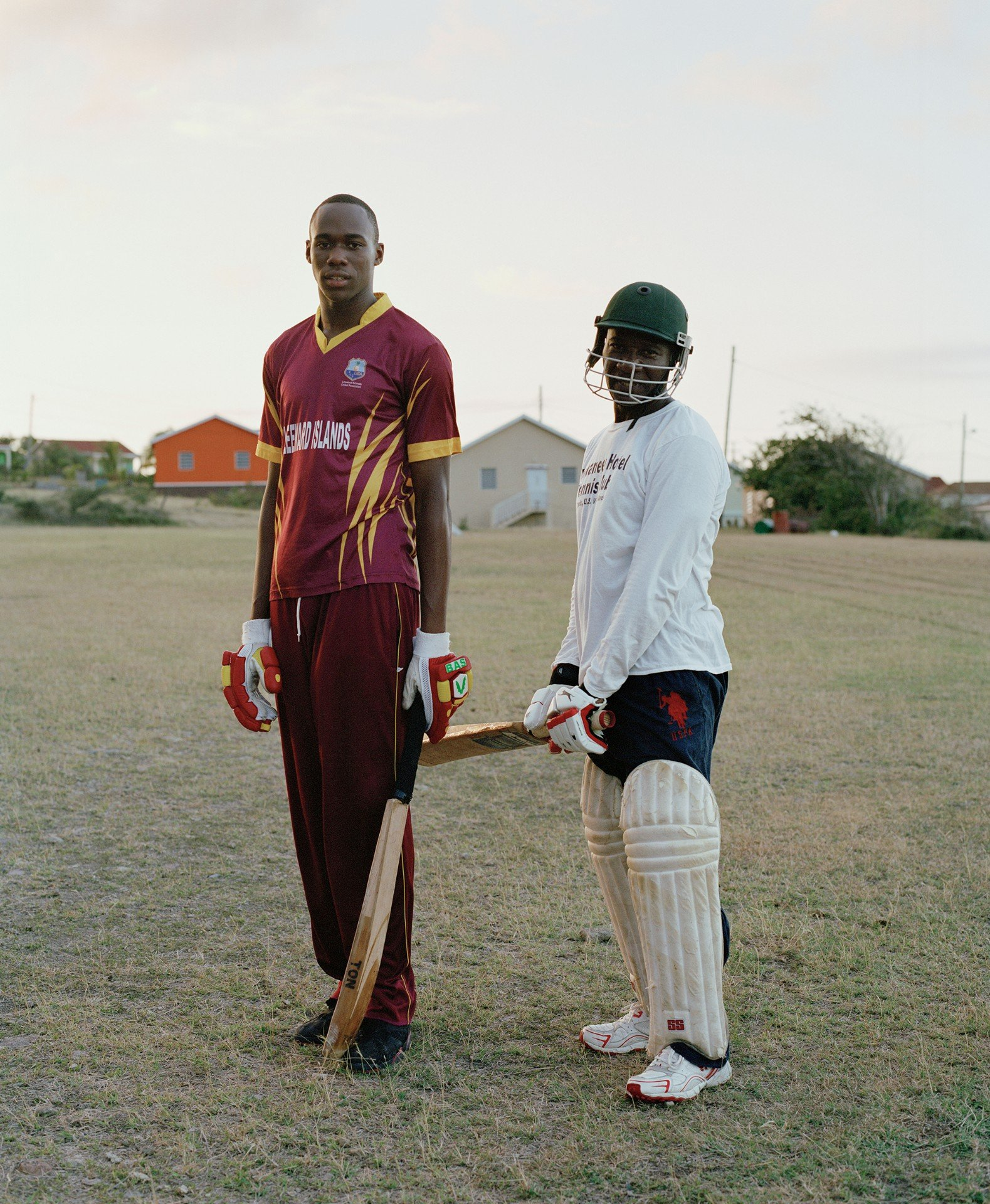 cricket players color portrait photography in the Caribbean island of Nevis, by Catherine Hyland