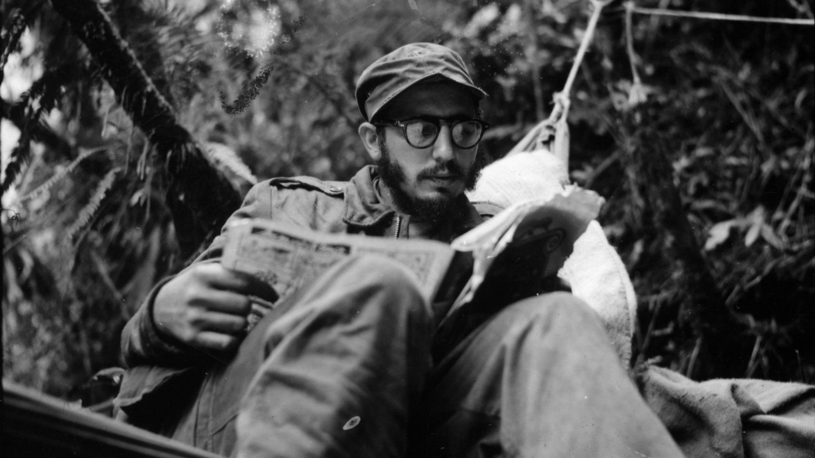 Black and white Photography Fidel Castro in the Sierra Maestra, in Cuba