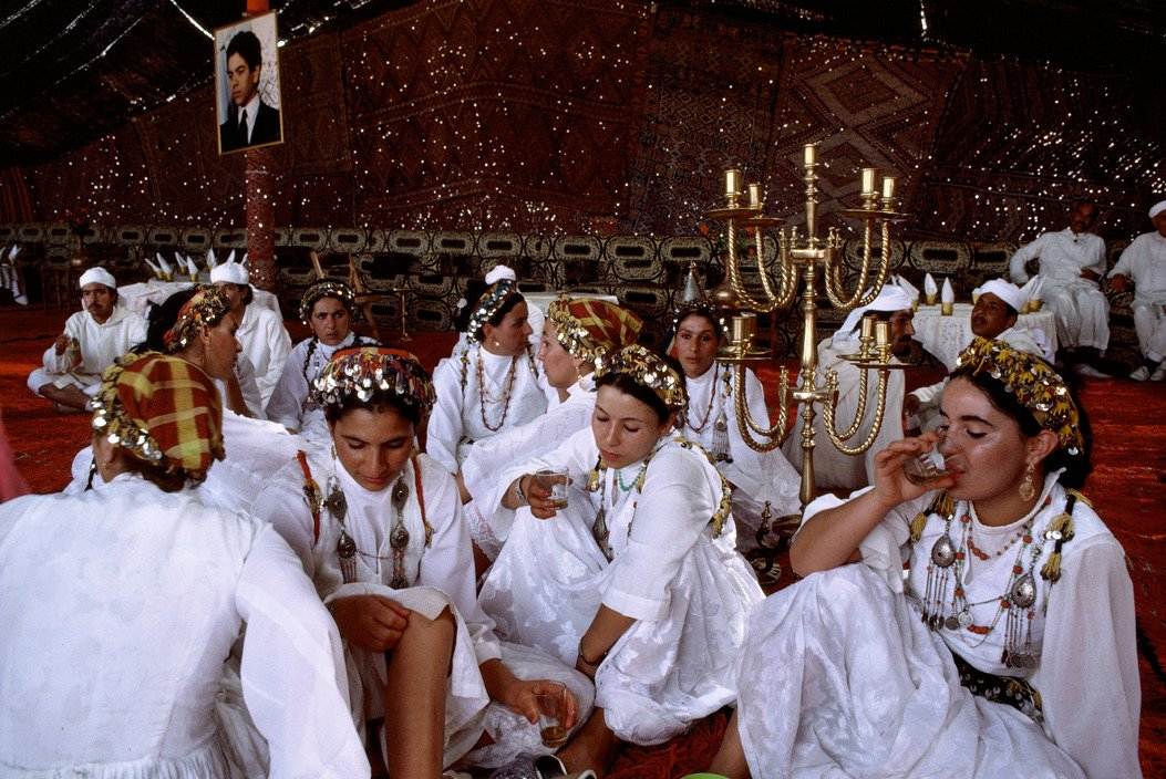 Guests from all over Morocco wearing their regional clothes, attending the celebration, Marrakech, Morocco, 1987, Bruno Barbey