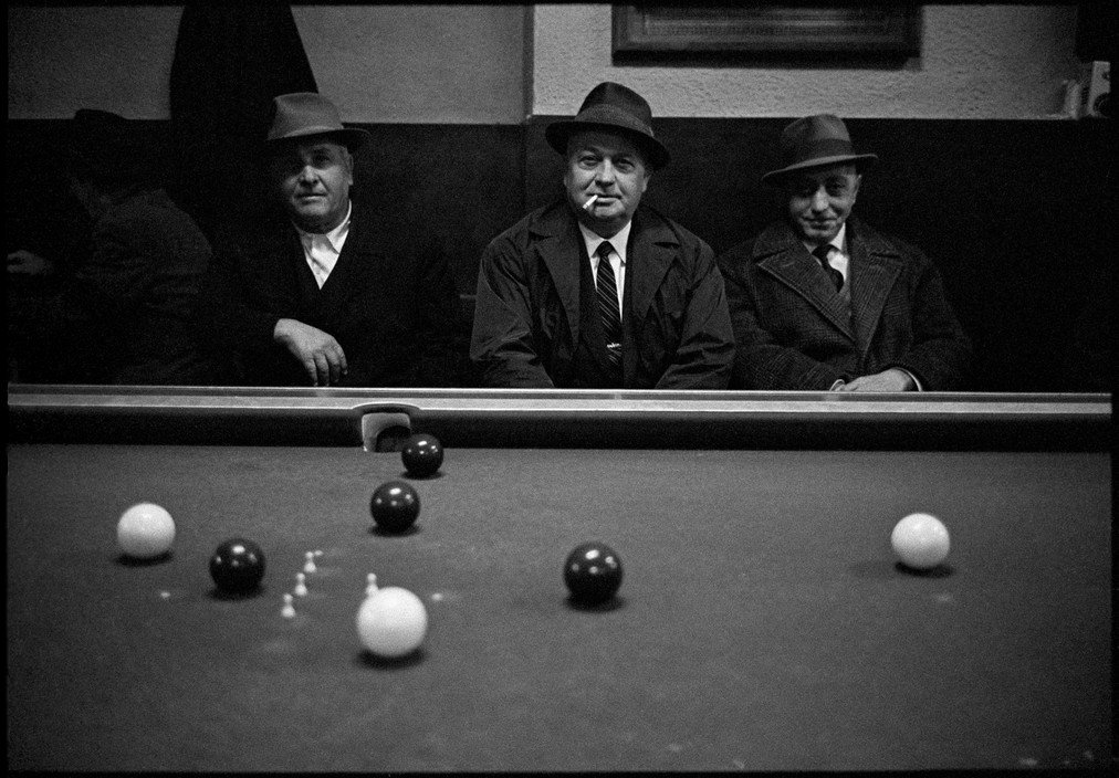 Men playing billiards, Town of Caltanissetta, Sicily, 1963, Bruno Barbey