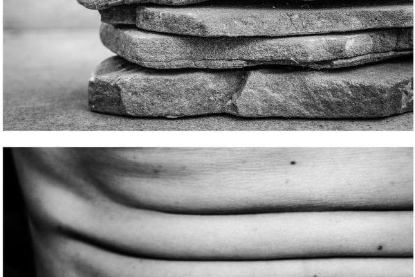 Photographie en noir et blanc du corps humain et de la nature par Alicja Brodowicz. Exercices visuels: une série de diptyques