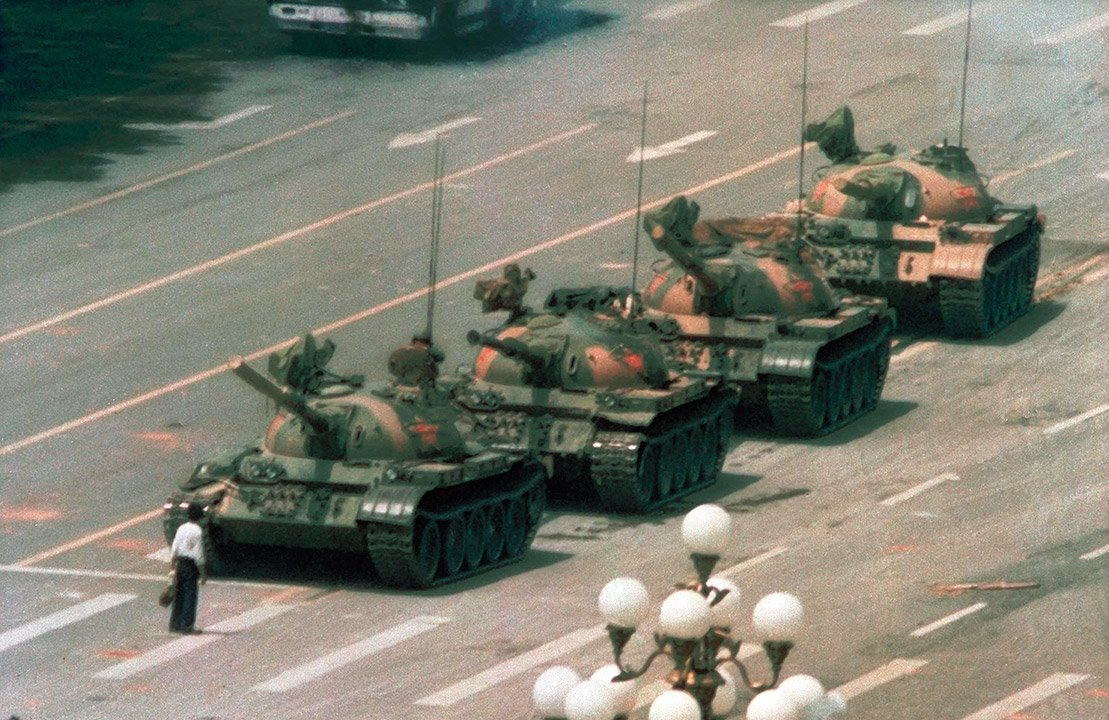 Tank Man, Tiananmen Square, Beijing, 1989 by Jeff Widener China photography