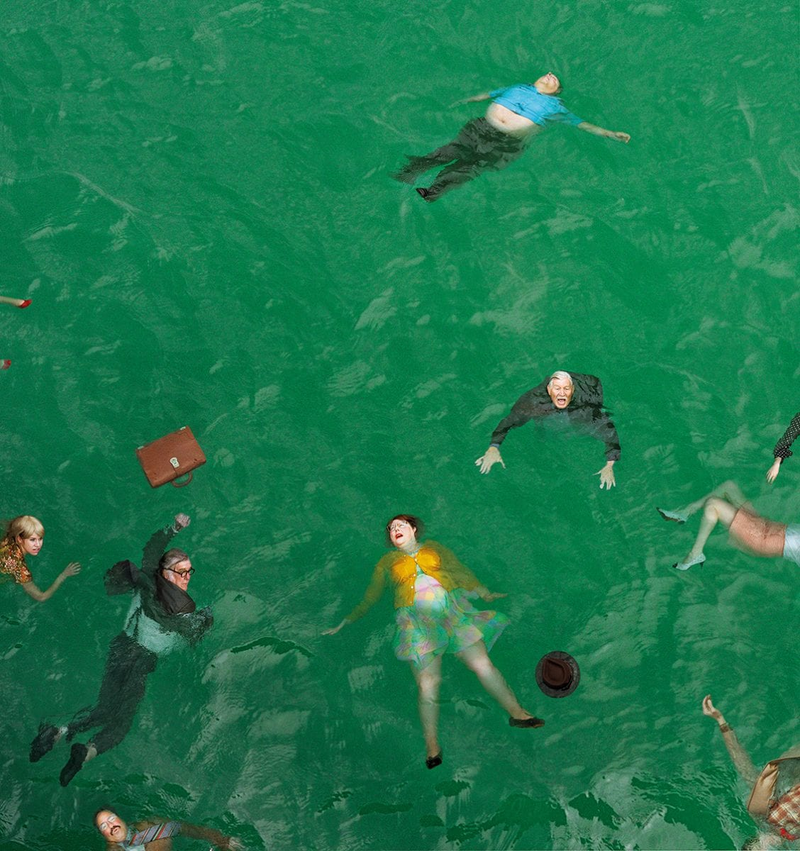 Aerial Color Photography people swimming by Alex Prager