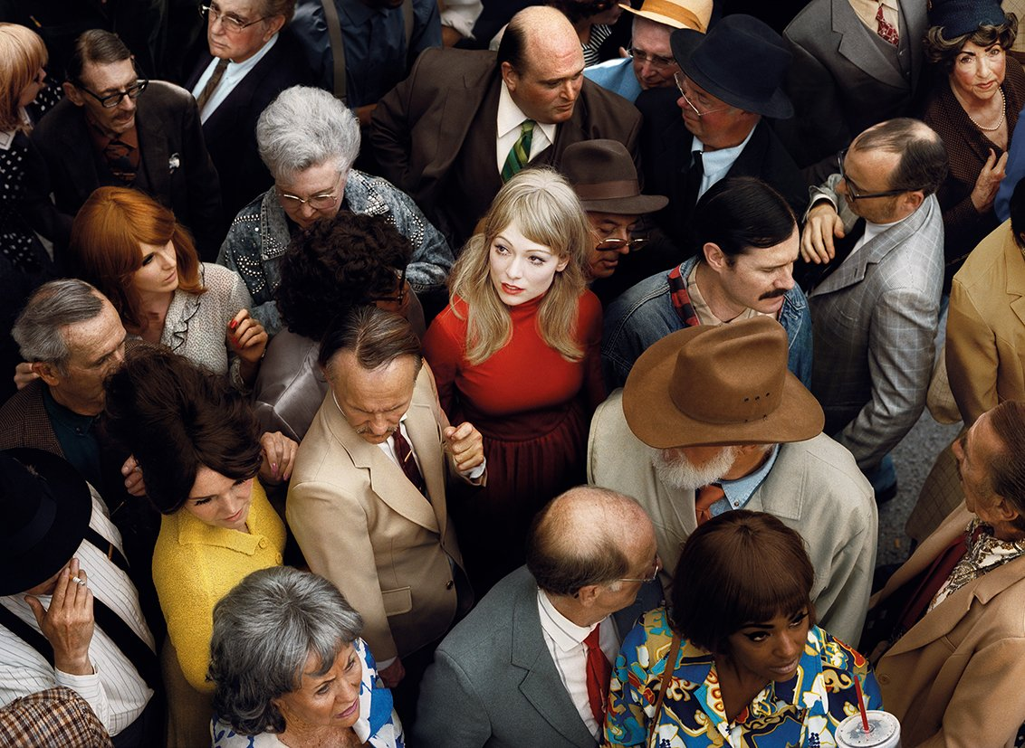 Aerial Color Photography of a woman in a crowd by Alex Prager