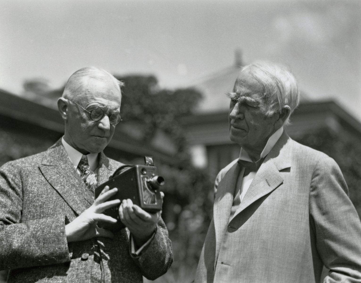 George Eastman and Thomas Edison at Eastman's house in Rochester, New York, 1928