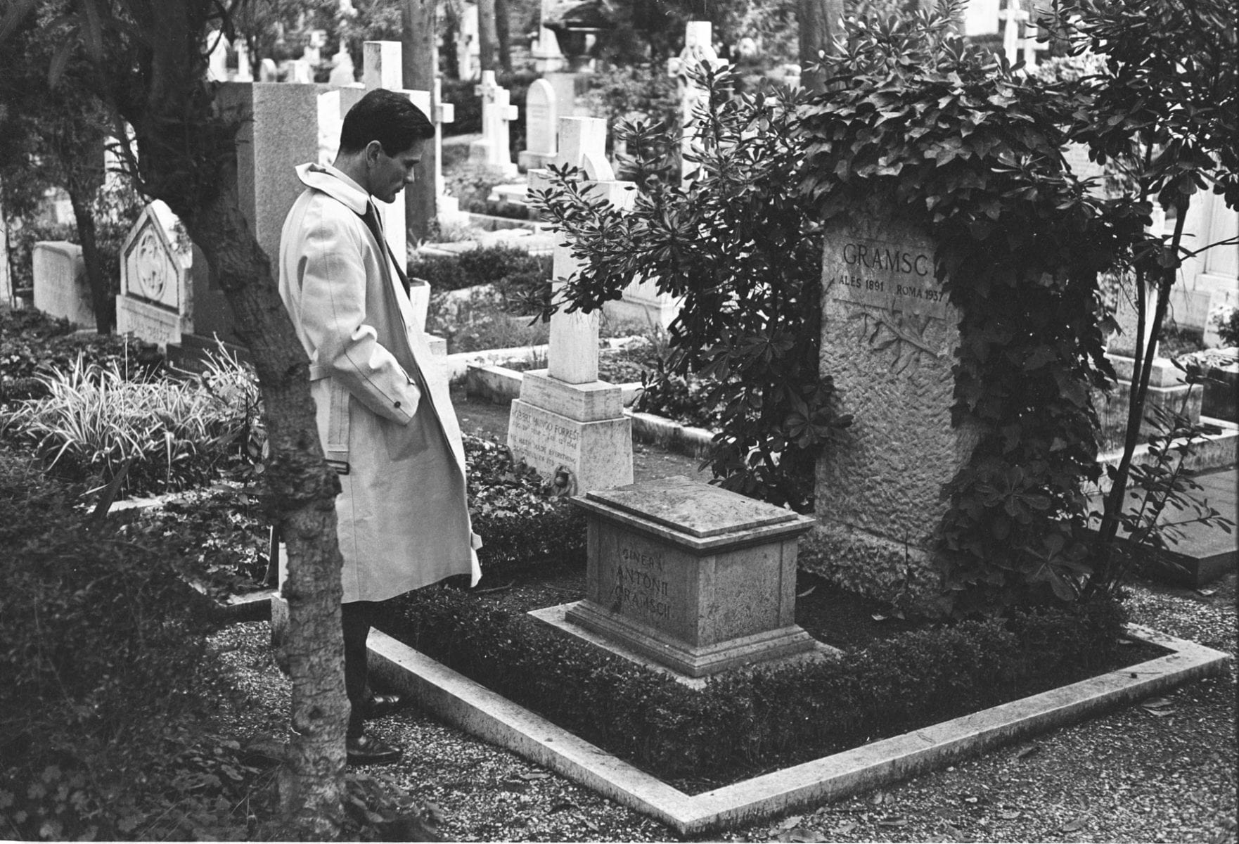 Black and White Photography Paolo Pasolini at the grave of Antonio Gramsci, Rome, 1954