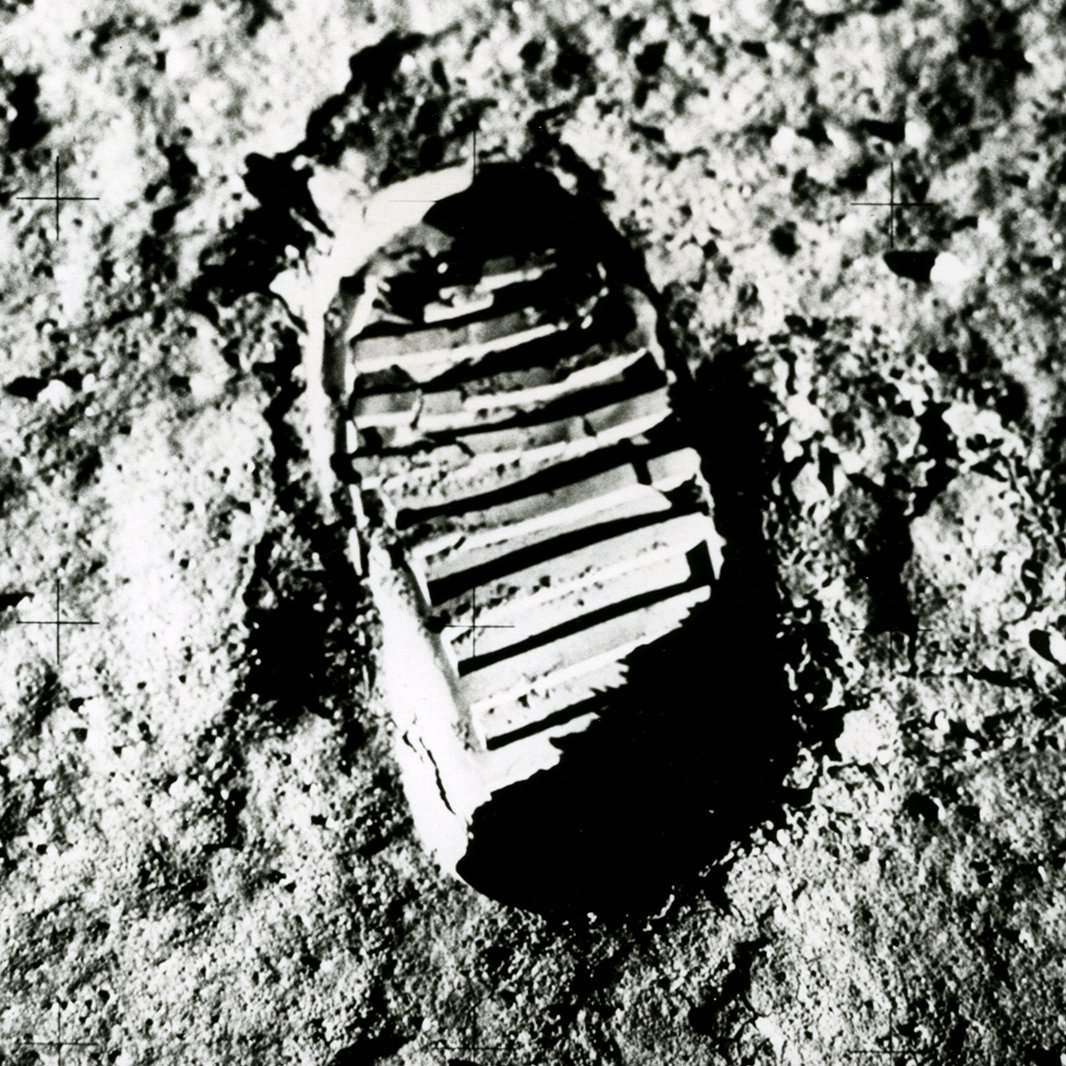 Shot on Hasselblad: Moon footprint from the Apollo 11 lunar landing, 1969 © Buzz Aldrin