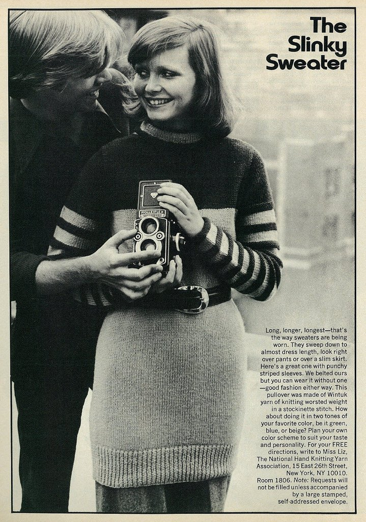 Teen Guy & Girl Holding Old Rolleiflex Camera, 1973 © Co-ed magazine