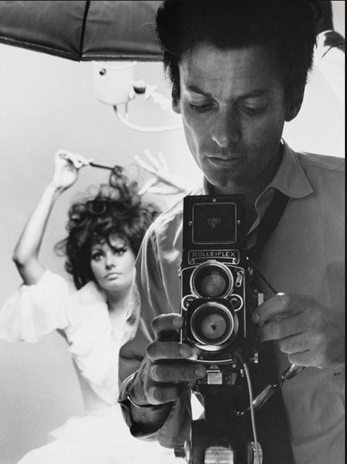 Richard Avedon Self-portrait with Sophia Loren Rolleiflex