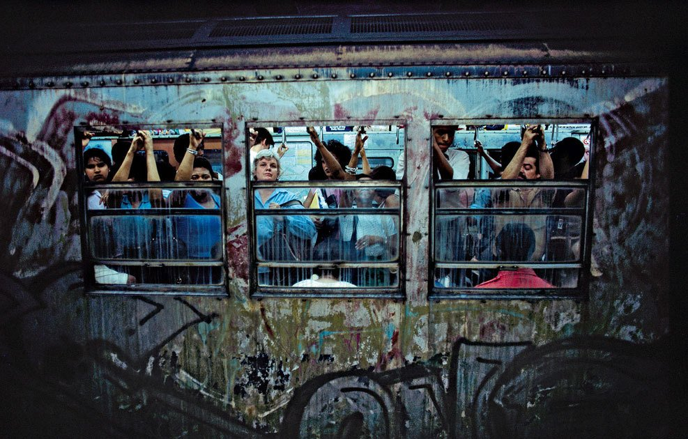 color street photography in NYC, Subway, New York, 1980 Bruce Davidson