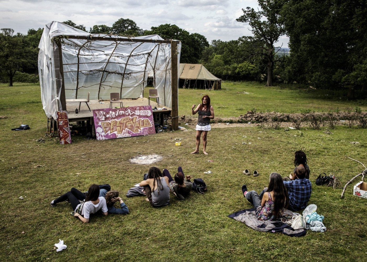 Dolores speaking to the flock, Runnymede, UK, 2015