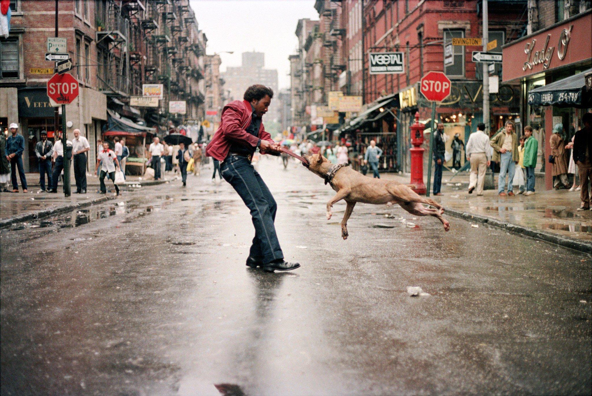 Street Photography,Man and Dog, 1980, New York, Jamel Shabazz Cheryl Dunn Everybody Street