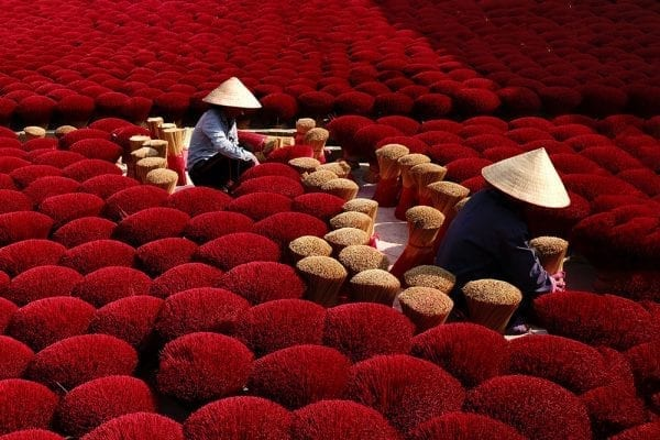 Color Photography, Vietnam, red incense