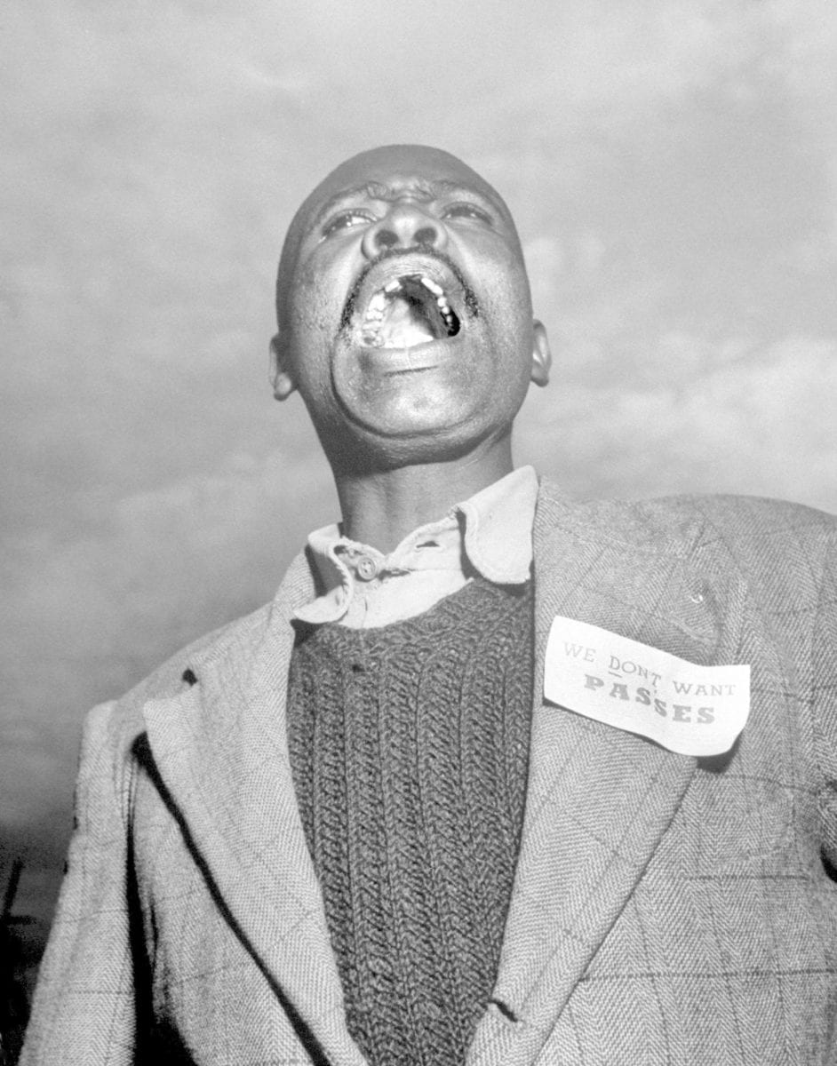 Margaret Bourke-White Carpenter Phillip Mbhele in protest, Johannesburg
