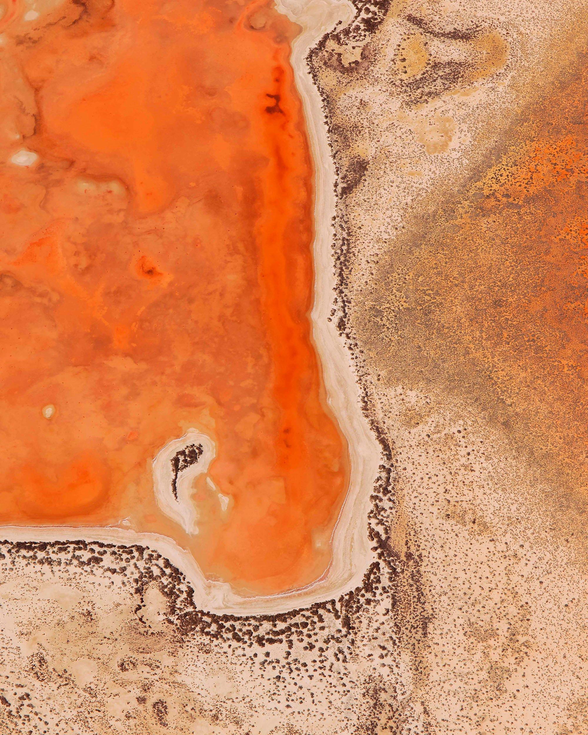 Fotografia a colori, paesaggio, Orange Lake dall'Australia occidentale