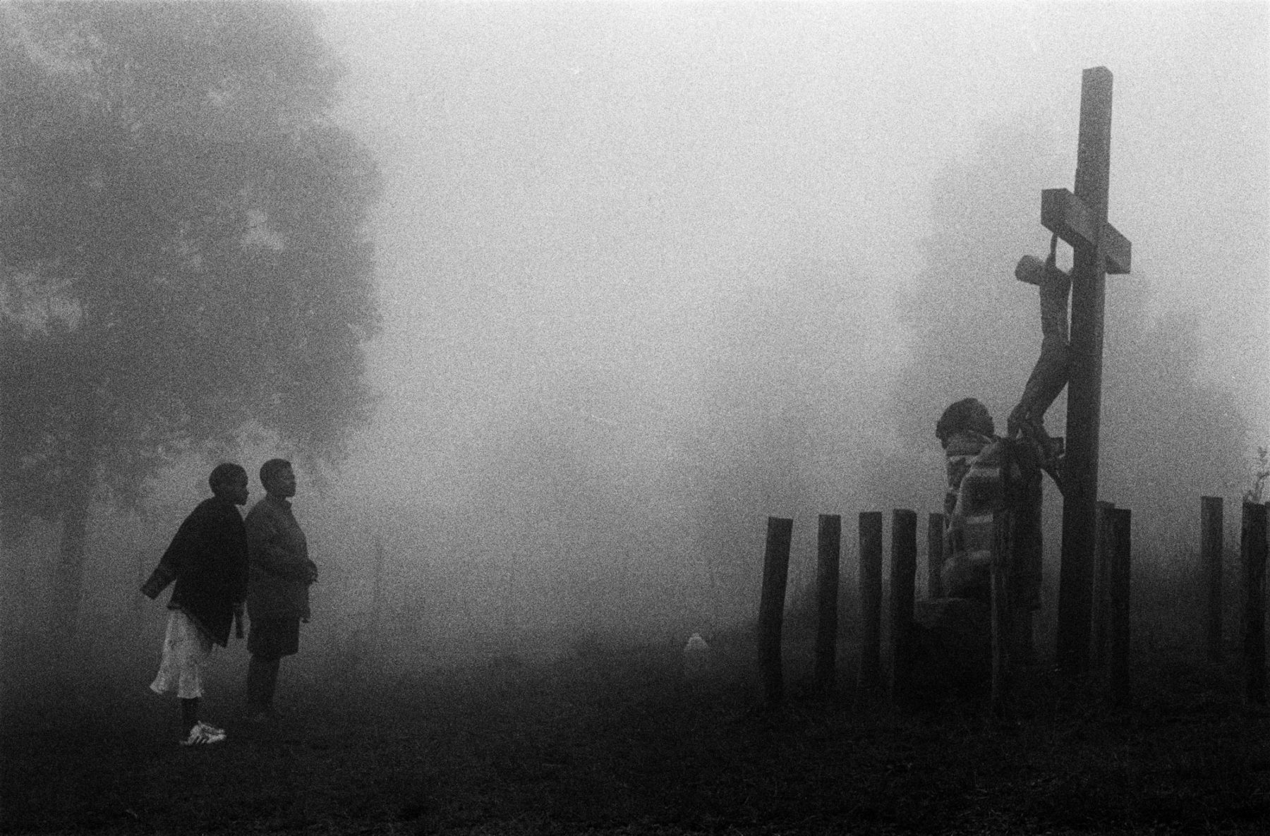 Black and White Photography Fog scene cross