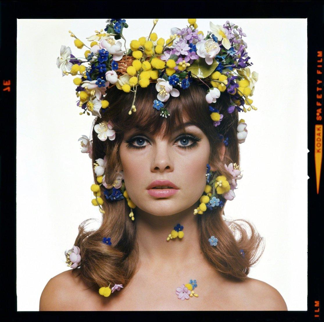 Portrait couleur film moyen format photographie de Jean Shrimpton par Bert Stern