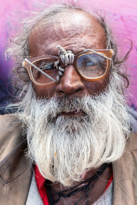 Portrait photography of old man in India by Stefano Croari