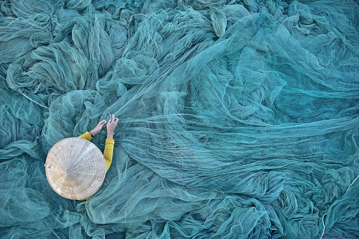 Fixing Fishing Nets in Vietnam