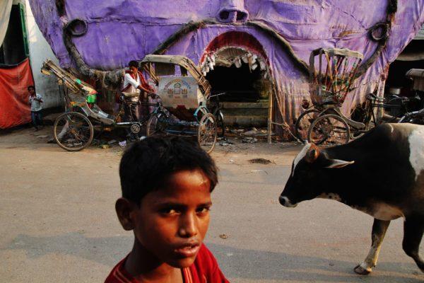 A child in the Kashi station area, Varanasi, India.
