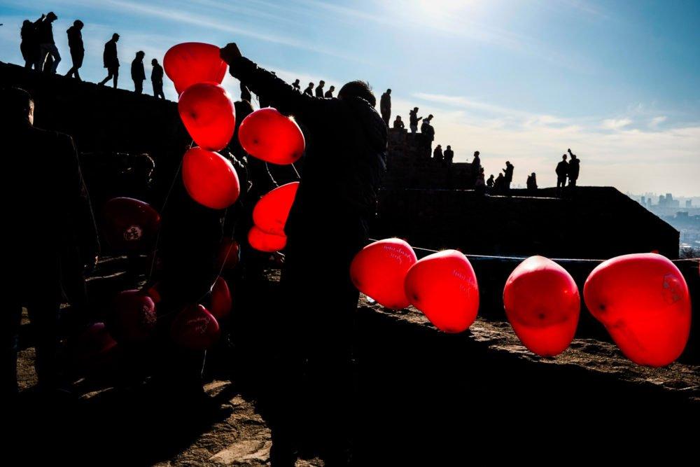 man selling balloons in Turkey