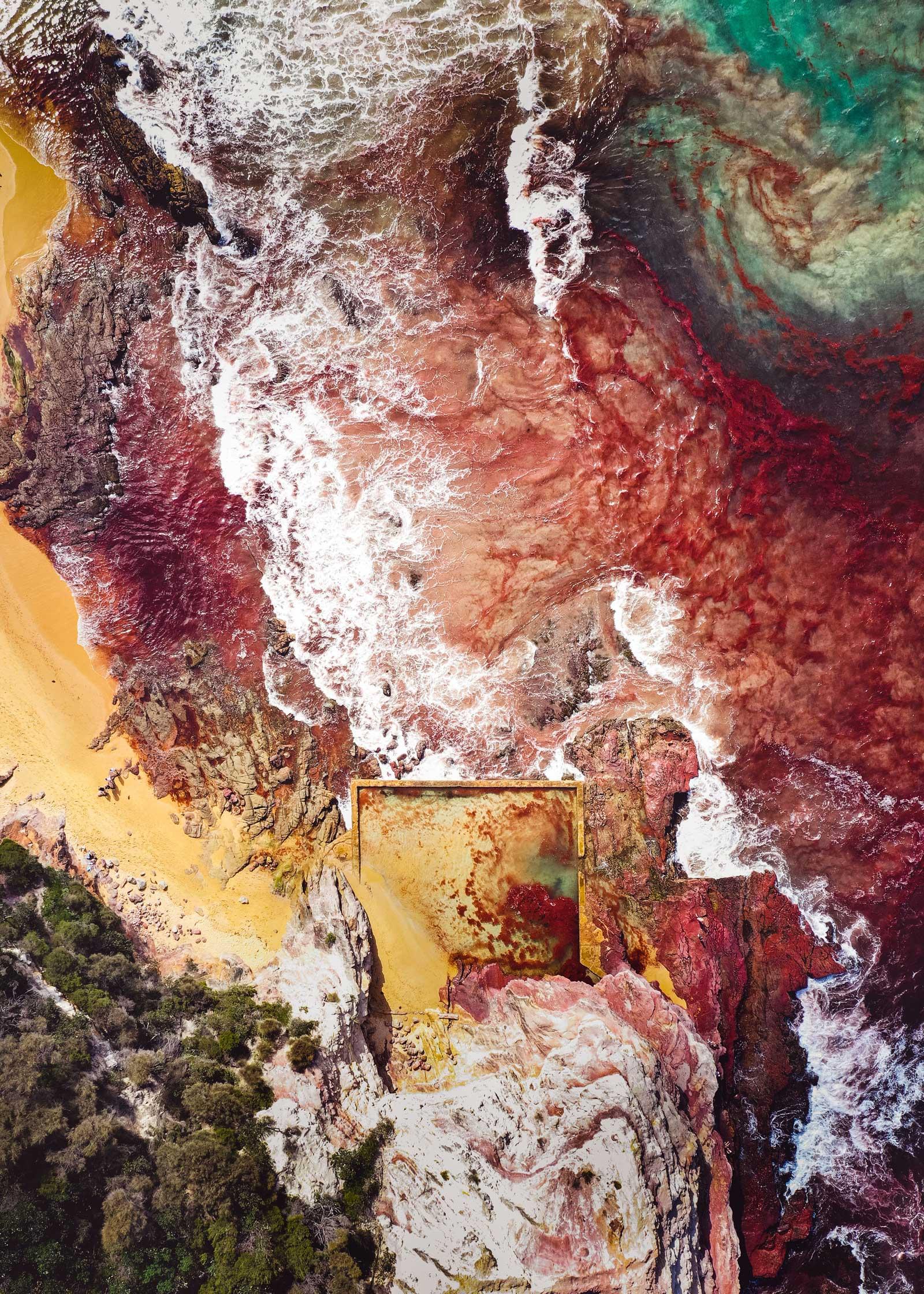 空中景观拍摄于澳大利亚新南威尔士州南海岸