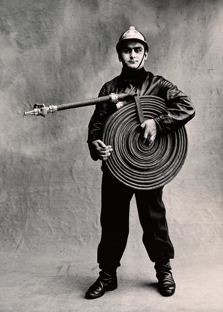 black and white portrait of a French fireman, 1950 © Irving Penn / Condé Nast
