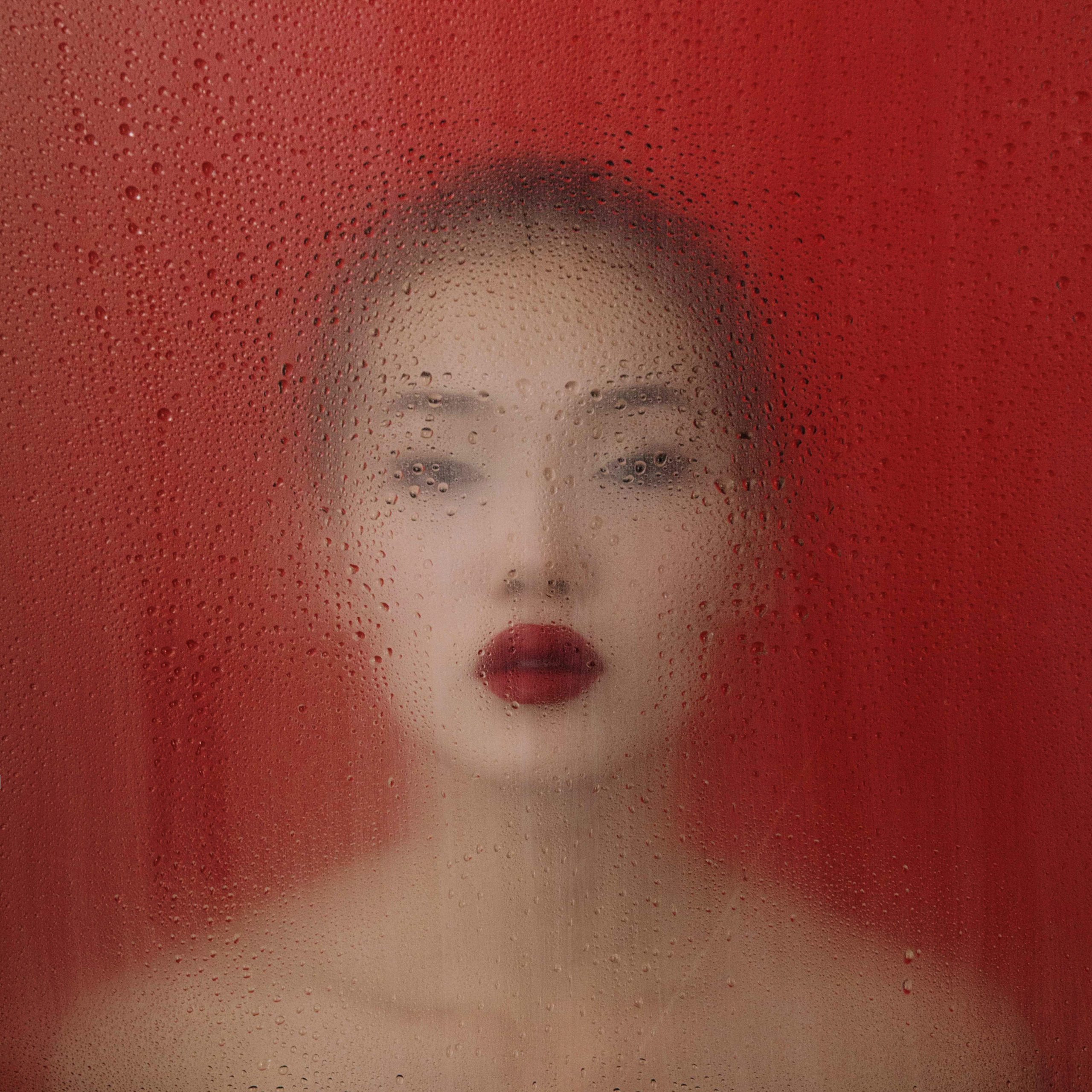 abstract portrait of a woman with red lips