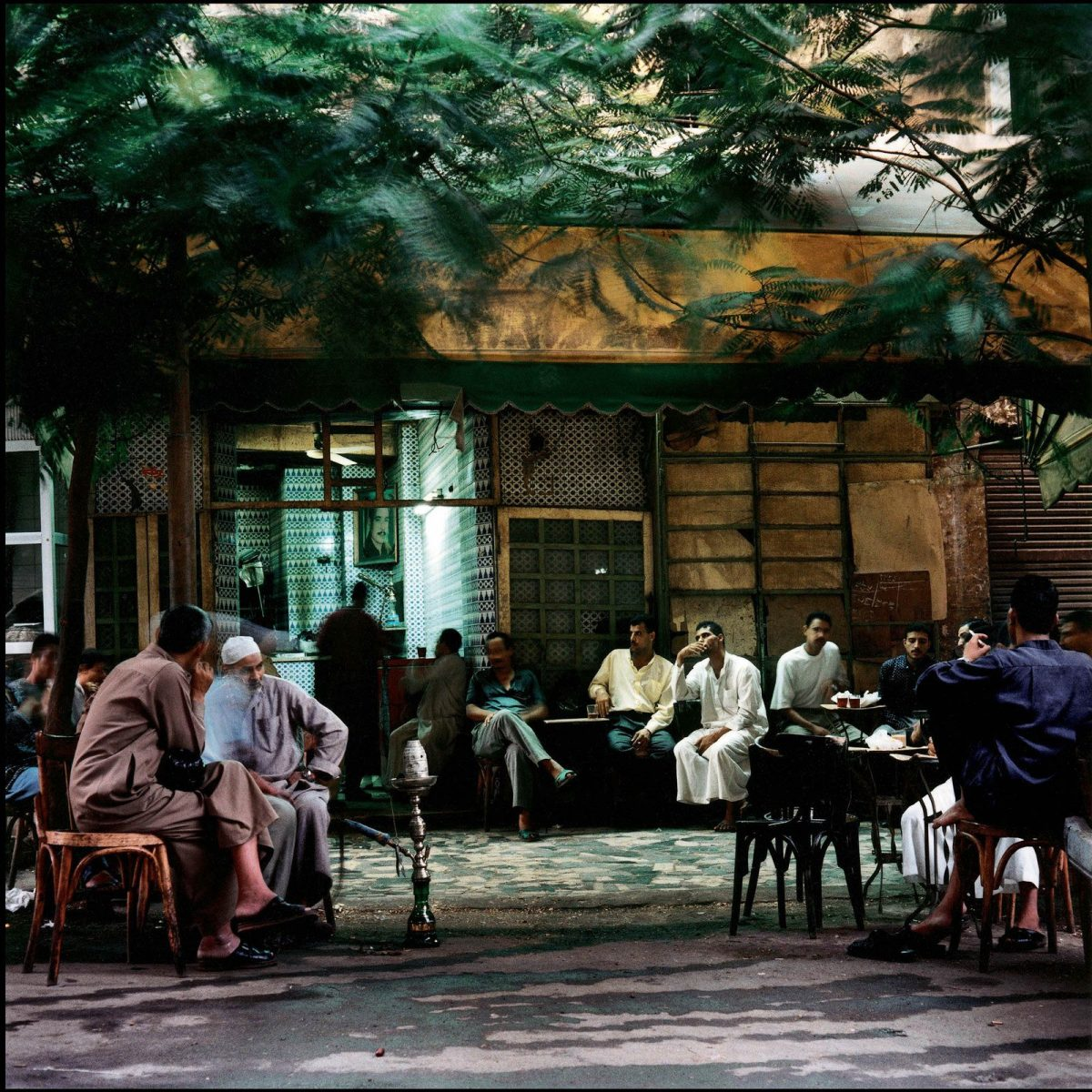 Coffee shop in Bab Zuwella at dawn, Cairo, 1994 photograph by Denis Dailleux