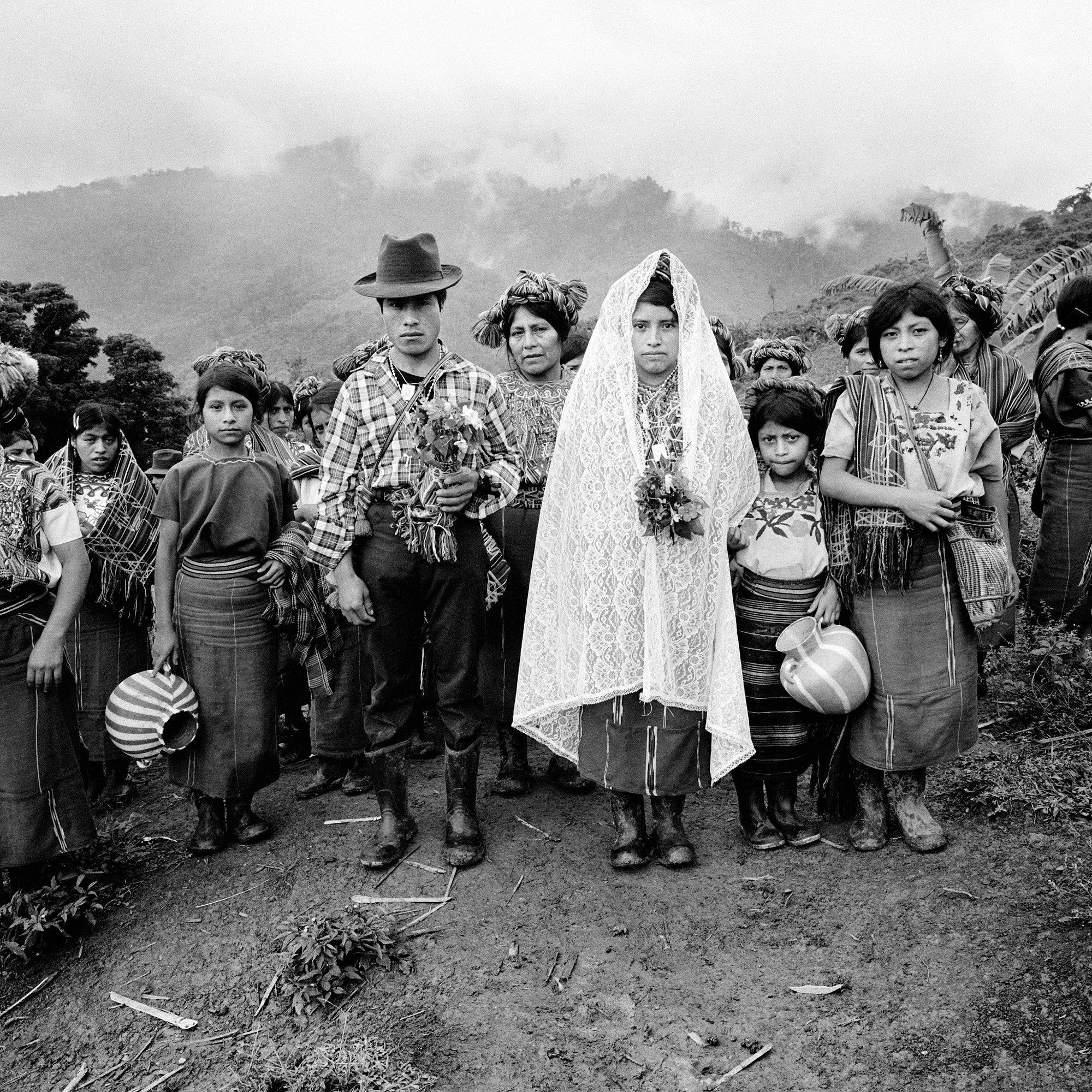 black and white portrait of a wedding in Guatemala