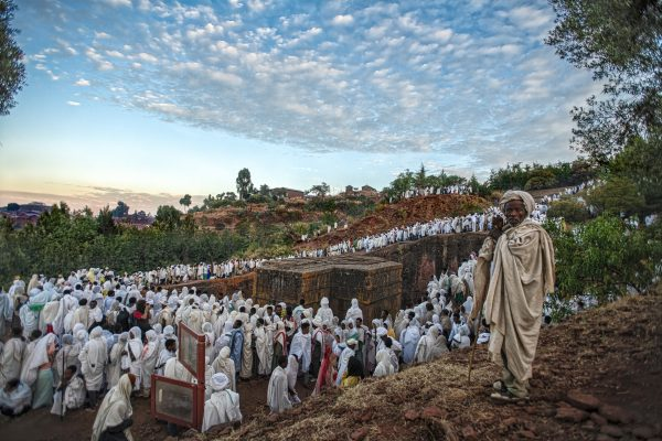 Travel photograph of priests in Lalibela in Ethiopia