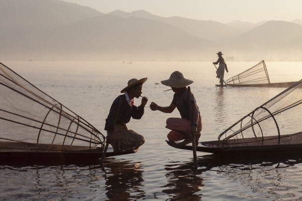 Travel award photograph of fishermen in Myanmar