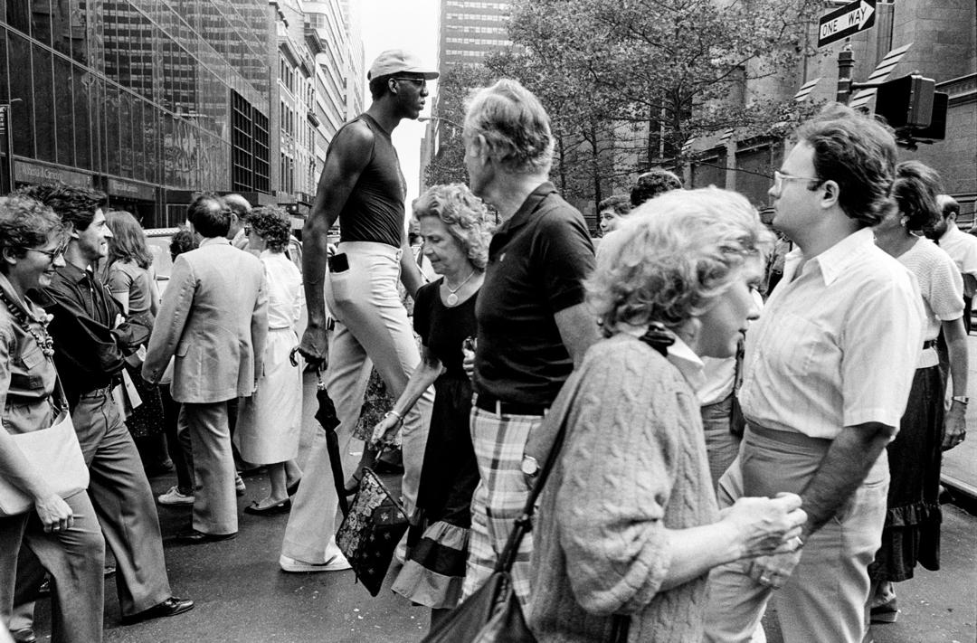 Black and white street photograph of people on New York City street by Richard Sandler