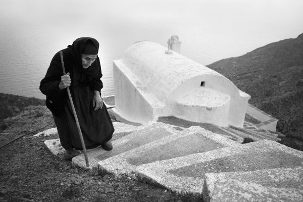 Black & white film photograph, portrait, documentary, woman, Greece, religion, church