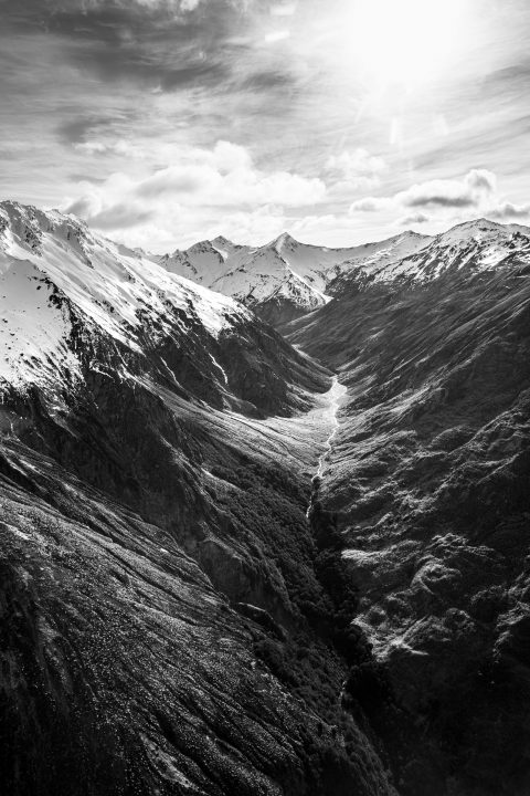 Black & white photograph, landscape, aerial, mountains, New Zealand