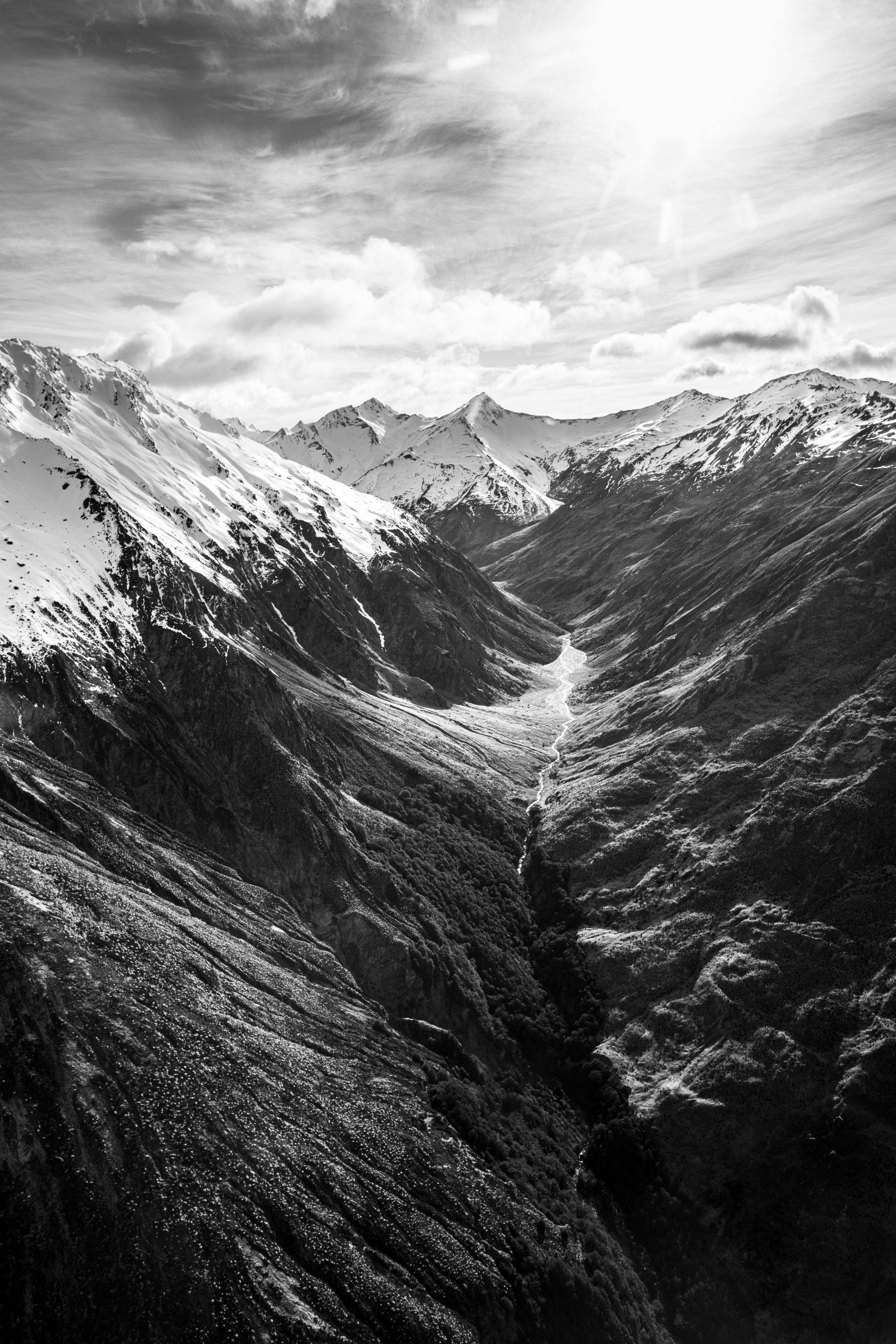 Black & white photograph, landscape, aerial, mountains, New Zealand