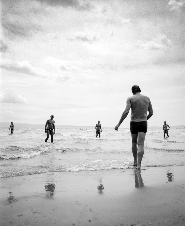 Black & white film photograph, documentary, street, people, beach, Split, Croatia