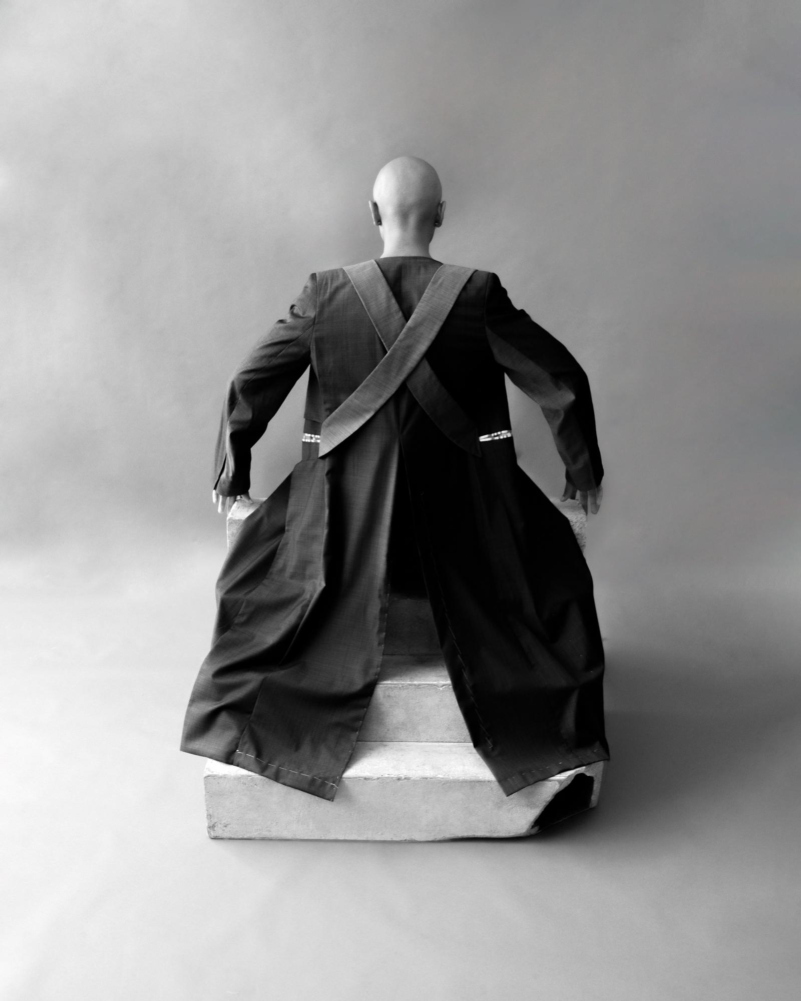 Black & white photograph, portrait, studio, body, man, fashion, NYC, USA