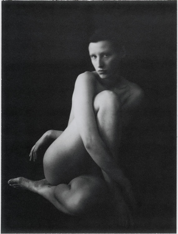 Black & white film photograph, portrait, studio, body, woman