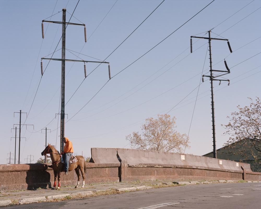 Color, film photography by Cian Oba-Smith, city horseman, man, street, Philadelphia