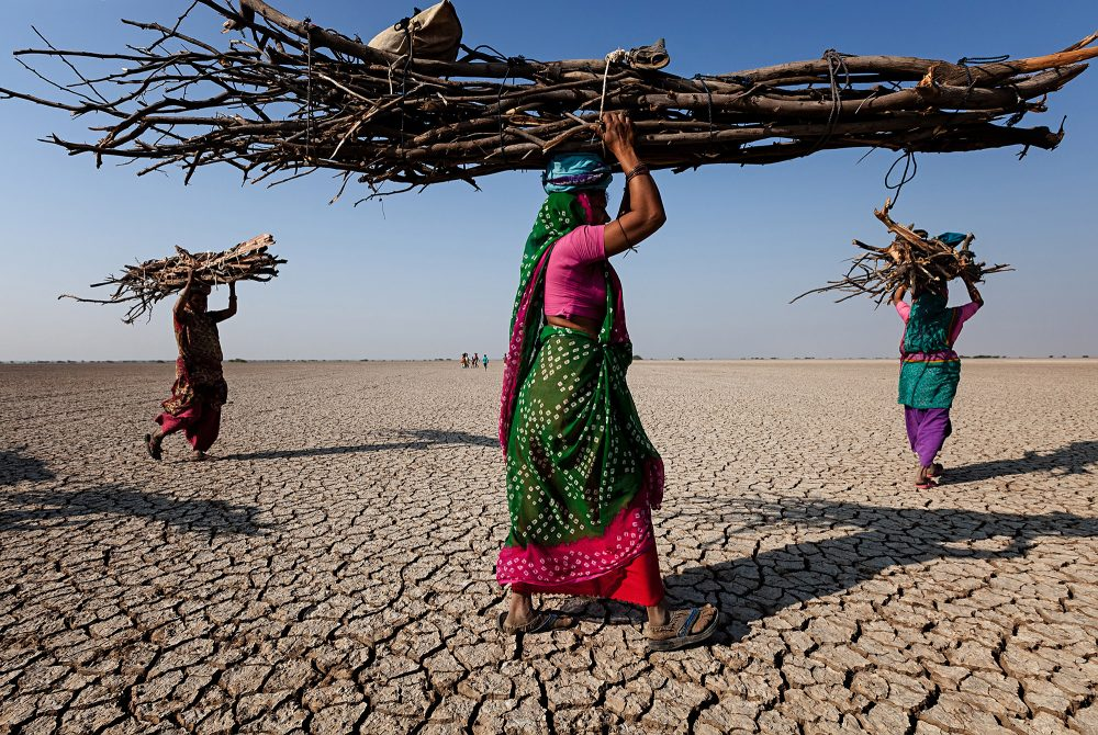 Documentary color photograph by Johan Gerrits of women carrying firewood in India