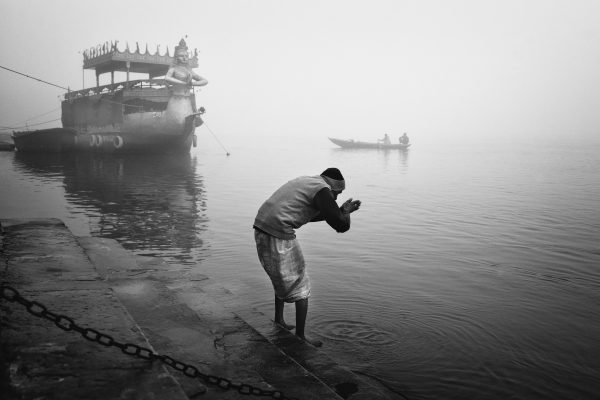 Black and white photograph, documentary, street, ganges river, india